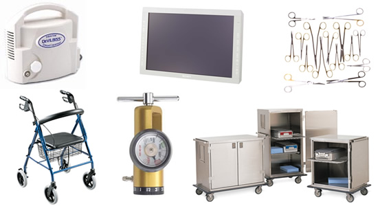 Huge selection of new hospital equipment and medical supplies.
